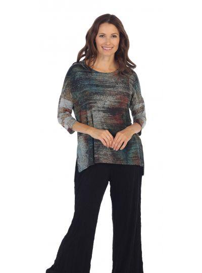 Jess & Jane Plus Size Silver/Multi Color Yosemite Slinky Knit Side Slit Top SK1-1141X