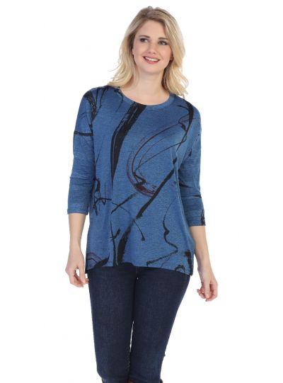 Jess & Jane Plus Size Blue Matilda Slinky Tunic SK1-1247X