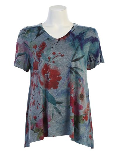 Jess & Jane Plus Size Blue Slinky Floral Short Sleeve Tunic SK3-1332X