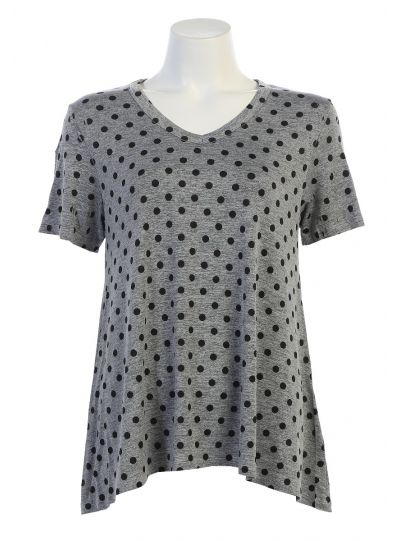 Jess & Jane Plus Size Gray Polka Dot Short Sleeve Top SK3-550X