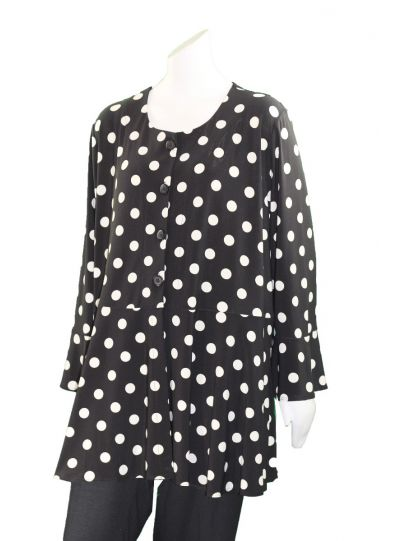 Comfy Plus Size Black Polka Dot Roseanne Tunic SK522
