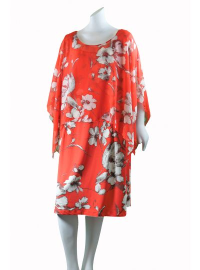 SL Fashions Plus Size Floral/Coral 2 Pc. Set Dress 614395