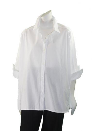 Comfy Plus Size White Short Blouse SN517