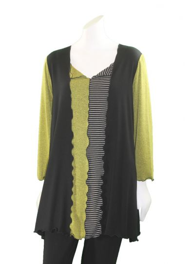 Sondra Sardis Black/Green/White Striped Square Neck Tunic