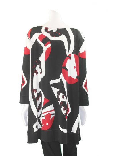 Eva Varro Plus Size Blk/Wht/Red Pullover Tunic T12383UX