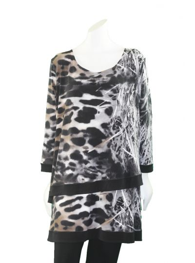 Eva Varro Plus Size Leopard Printed 2 Layer Tunic T12395D