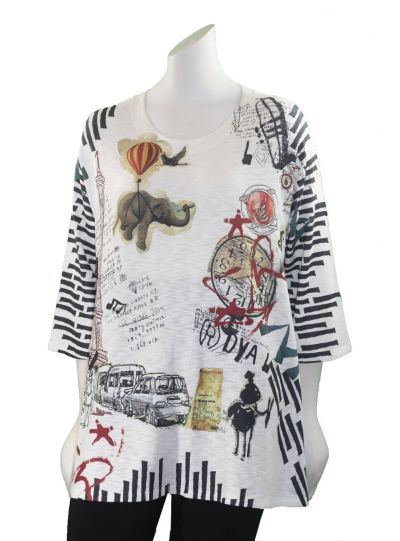 Inoah Elephant Printed Pullover Tunic T208K-K54