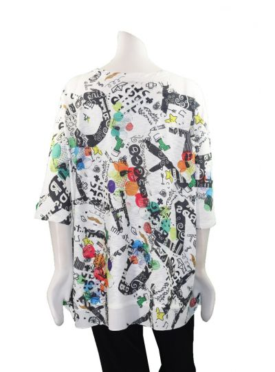 Inoah Over Sized Multi Printed Pullover Tunic T326K-N07