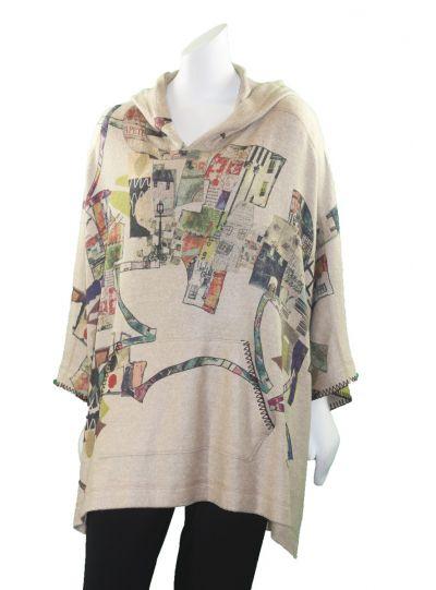 Inoah One Size Tan Fleece Printed Poncho T513BM-K04