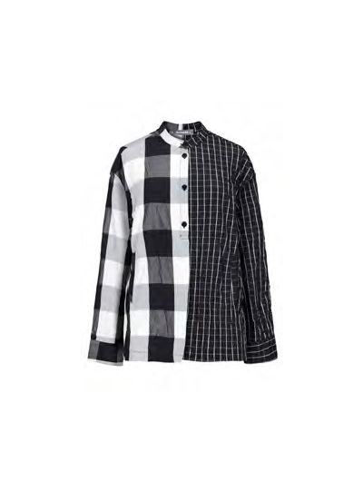 Alembika Black/White Check Crinkle Half Button Top T902B