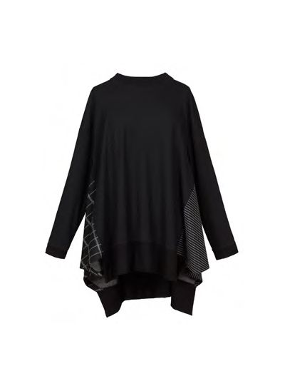 Alembika Black/Patch Work Pullover Uneven Hem Top T907B