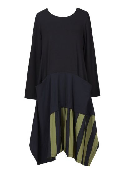 Alembika/Tekbika Black/Green Striped Pullover Dress TD532B