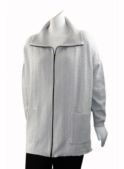 Textures Plus Size Ghost Grey Zip Up Front 2 Pocket Sweater 4355