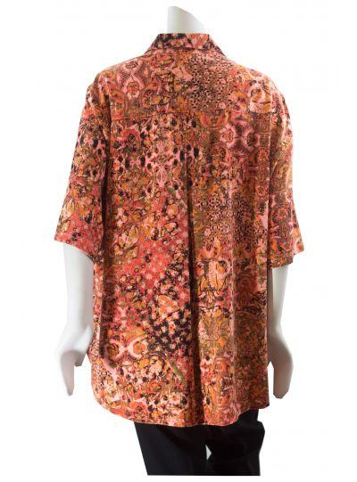 Tianello Plus Size Hot Orange Entino S/S Camp Shirt PTET-786P-ET-HOR