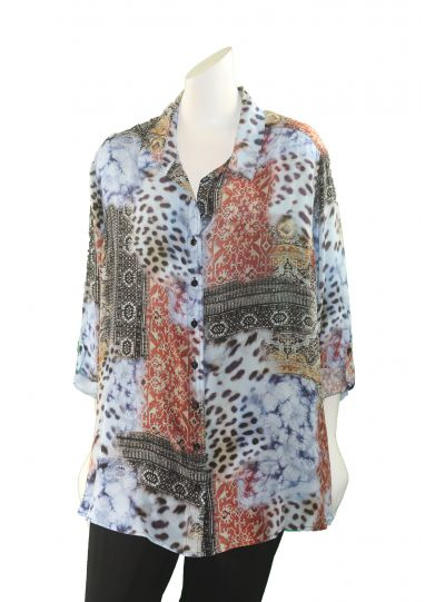 Tianello Plus Size Have More Print Silk Loving Blouse SPHV-133P-Mil