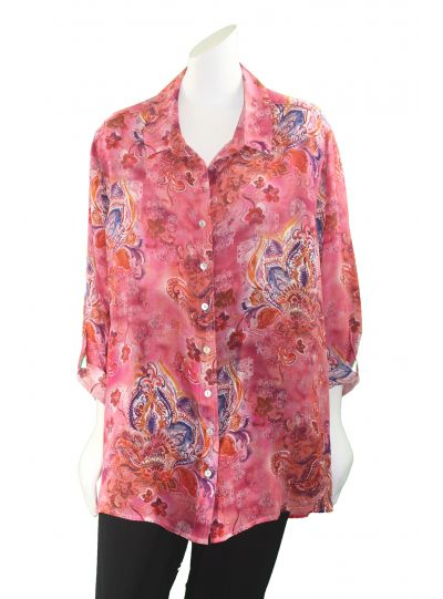 Tianello Plus Size Tindar Print Silk Loving Blouse SPTD-133P-Was