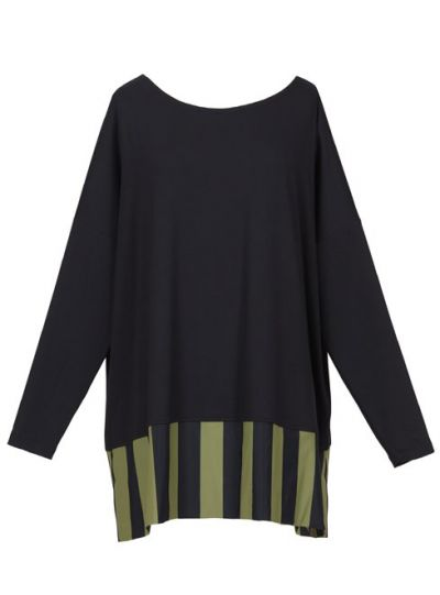 Tekbika/Alembika Black/Green Striped Pullover Top TT506S