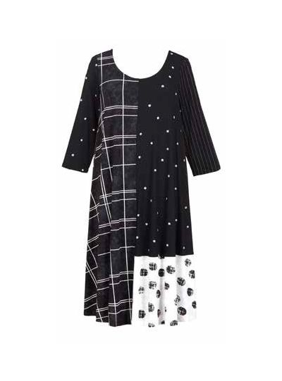 Alembika Black/White Plaid/Polka Dot Dress SD433B