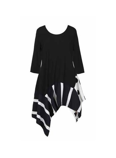 Alembika Black/White Polka Dot Aysm Tunic TT624B
