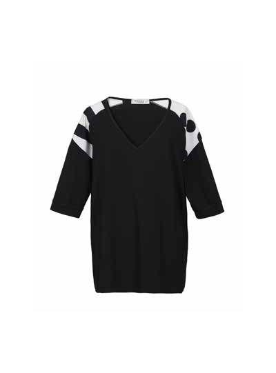 Alembika Black/White Striped Polka Dot Pullover Tunic TT625B