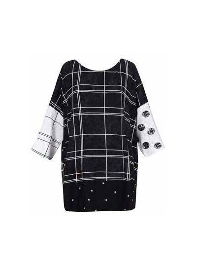 Alembika Black Multi Fabric Pullover Tunic ST135B
