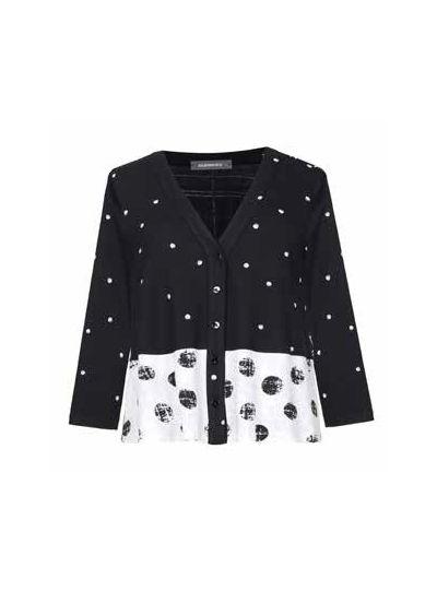 Alembika Black/White Polka Dot Button Front Cardigan SJ304W
