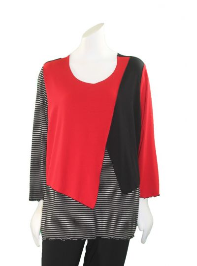 Sondra Sardis Red/Black/ White Striped Vestee