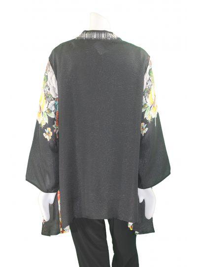 Dressori Plus Size Black/Print Kimono Jacket W088FA17-34