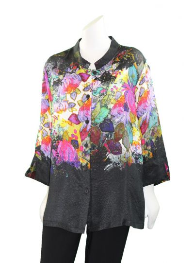 Dressori Black/Multi Mandarin Collar Blouse W148PF18-02