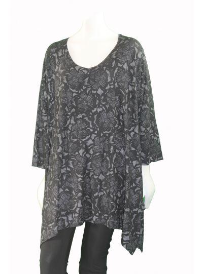 Nally & Millie Plus Size Black/Grey Floral Print Tunic W312360-F