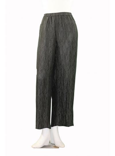 Dressori Plus Size Black/Silver Striped Full Pant W314SO-21