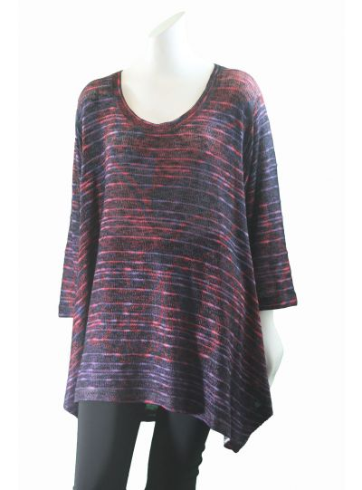 Nally & Millie Plus Size Purples/Pinks Knit Pullover Tunic W452460-A