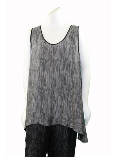 Dressori Plus Size Black/Silver Two-Faced Tank W525SO17-21