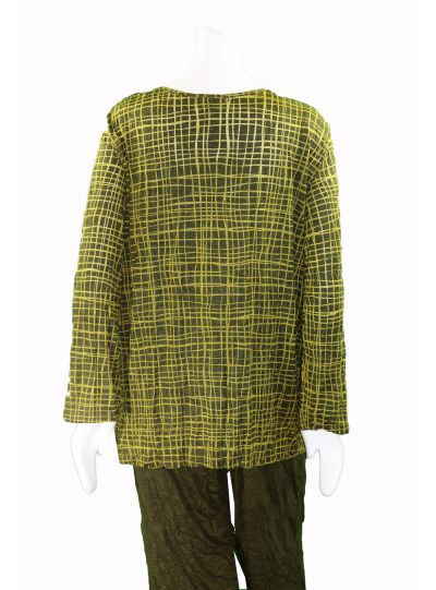 Comfy Plus Size Mustard Check Pullover Basic Tee WC134