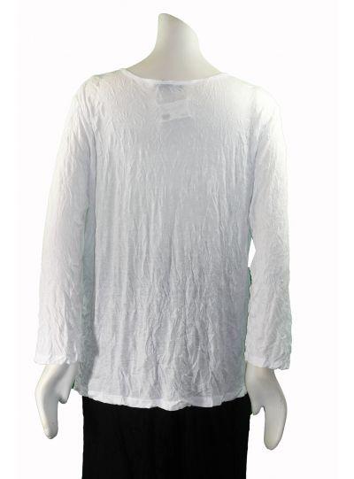 Comfy Plus Size White Krinkle Basic 3/4 Sleeve Tee WC134