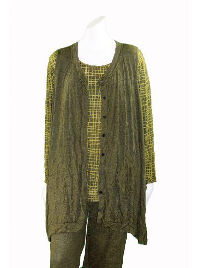 Comfy Plus Size Crinkle Mustard Button Front Vest WC596