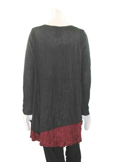 Comfy Plus Size Black/Red Striped Crinkle Tunic WC627