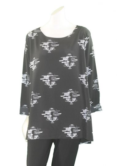 Comfy Plus Size Black City Print Spain Tunic WCD137P