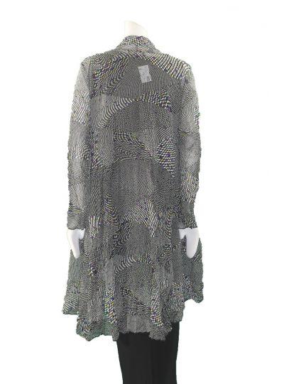 Comfy Plus Size Lisbon Print Crinkle Mesh Open Jacket WES1106P