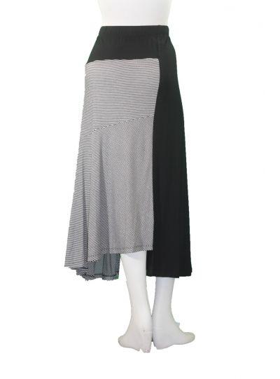 Comfy Plus Size Black/Striped Gwen Skirt WM914