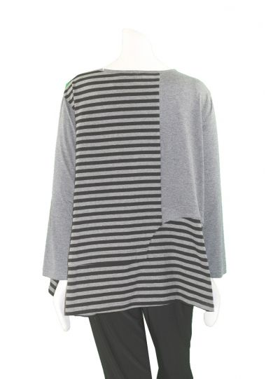Redwood Court Plus Size Grey/Black Striped Top WT448SWX