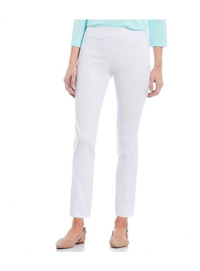 Multiples Plus Size White Wide Band Pull On Ankle Pant M2623PA