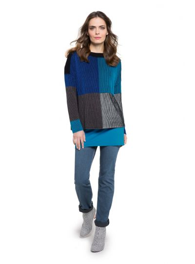 Doris Streich Plus Size Blues Pullover Sweater 235-105-61