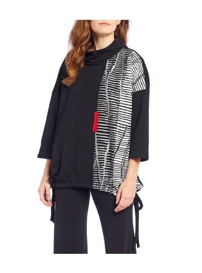 IC Collection Black/Silver Pullover Cowl Neck Tunic 3089T