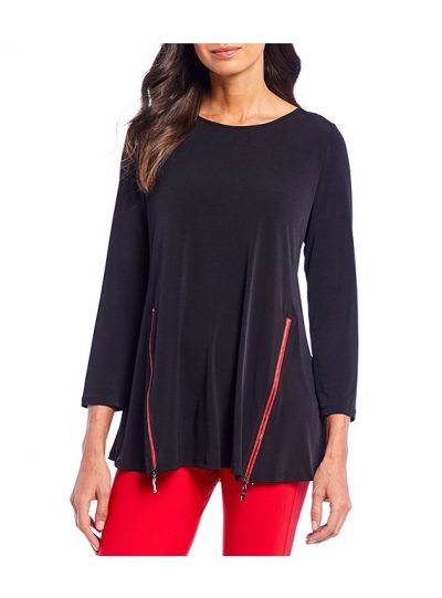 IC Collection Black/Red Pullover Zipper Tunic 3478T