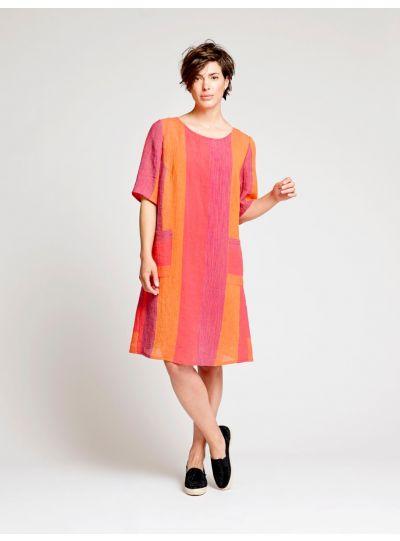Q'Neel Plus Size Multi Striped 2 Pocket Dress 88837-8671-46