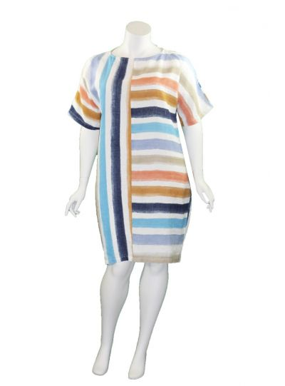 Banana Blue Multi Striped Water Color S/S Dress 1107AQ638X