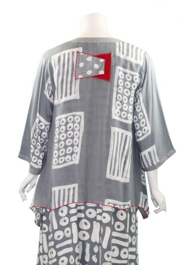 Lyng Designs Plus Size Grey/White/Red Hourglass Jacket 1186A