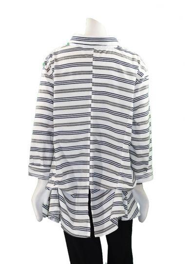 Dress to Kill One Size Grey/Navy Striped Shirt 124E