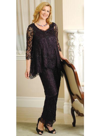 Soulmates Plus Size Black Ribbon Silk 2pc. Crochet Set C8057X